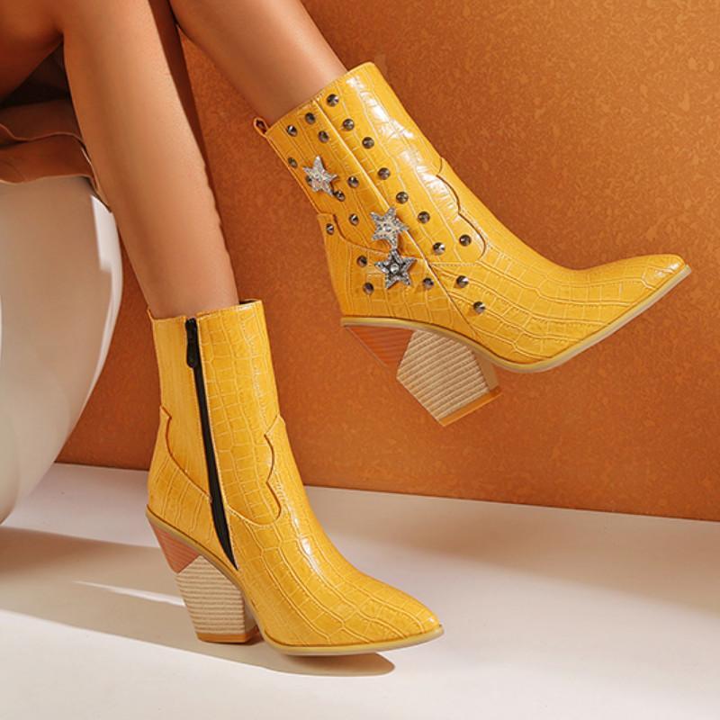 Fanyuan Женская ботильонные ботинки мода толщиной высокий каблук зимняя обувь женщина хрустальные заклепки сексуальные короткие ботинки вечеринка Обувь 34-43