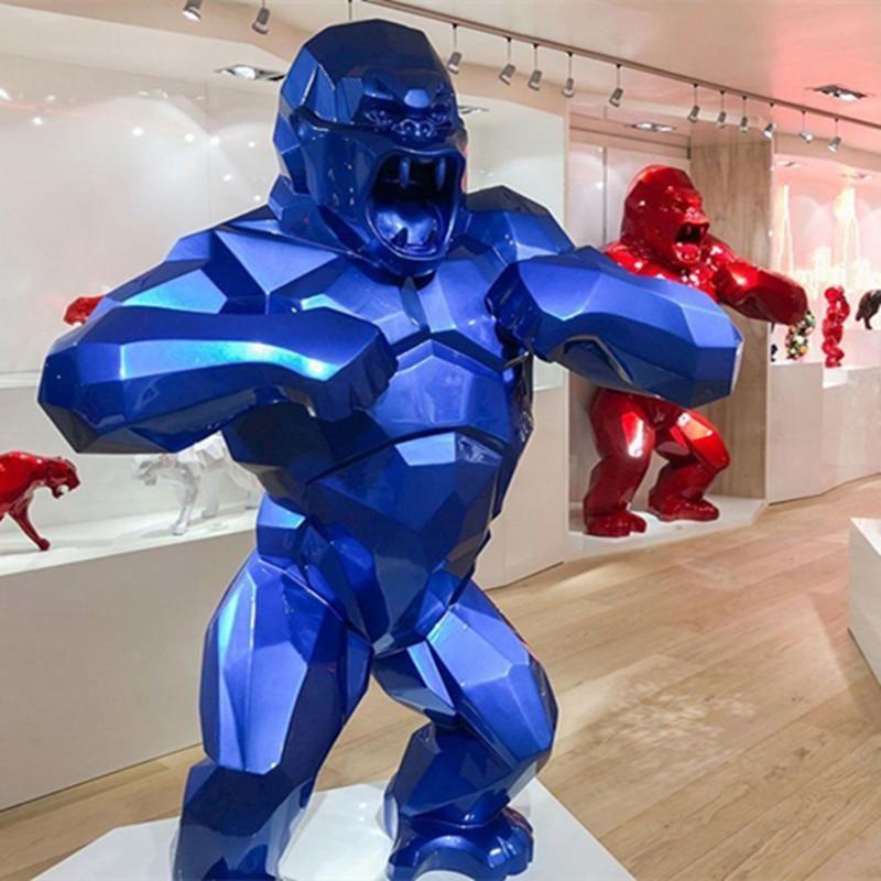Creative King Kong sala de estar decoración Gorilla escultura geométrica moderna estatua regalo de cumpleaños para boda caja coleccionable 2021