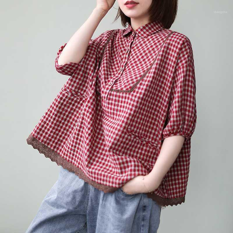 Johnature Women Cloths Lace Plaid Shirts Vintage Loose Casual Top Half Sleeve 2020 Spring Cotton Turn-down Collar Shirts1