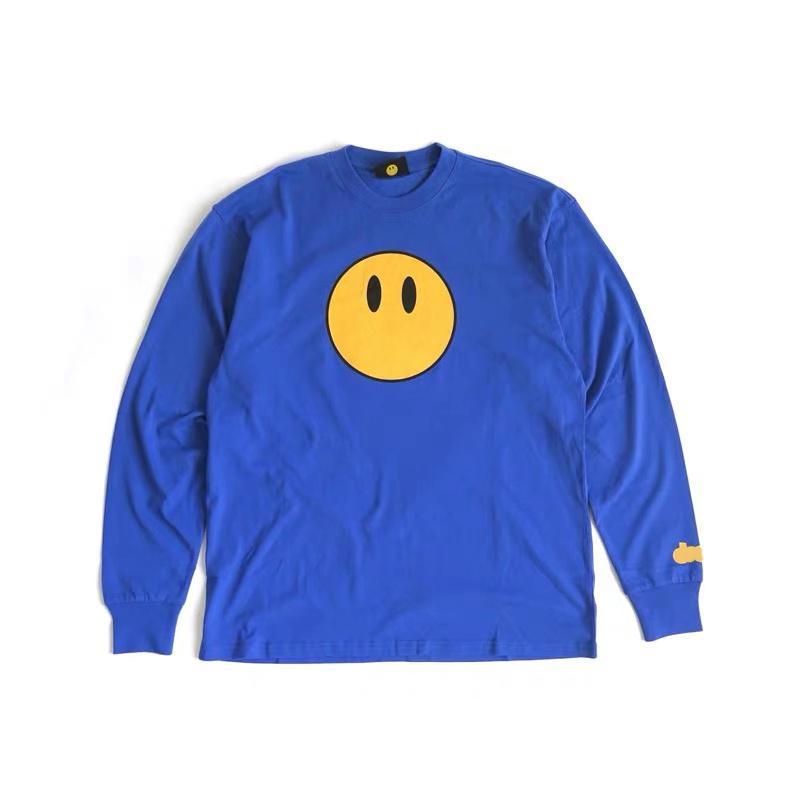 Justin Bieber Classic Mascot T-shirt T-shirt à manches longues Coton Coton Hip Hop Tee Hop Tee Mens Sourire Face Tees Streetwear Tops