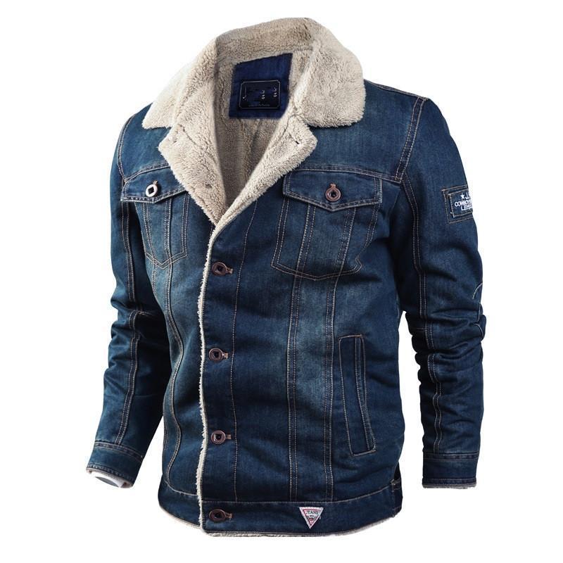 Denim Jacket Men Winter Thick Warm Cowboy Jackets Plus Size 6XL Casual Fleece Retro Fur Collar Jeans Parka Coat Outwear