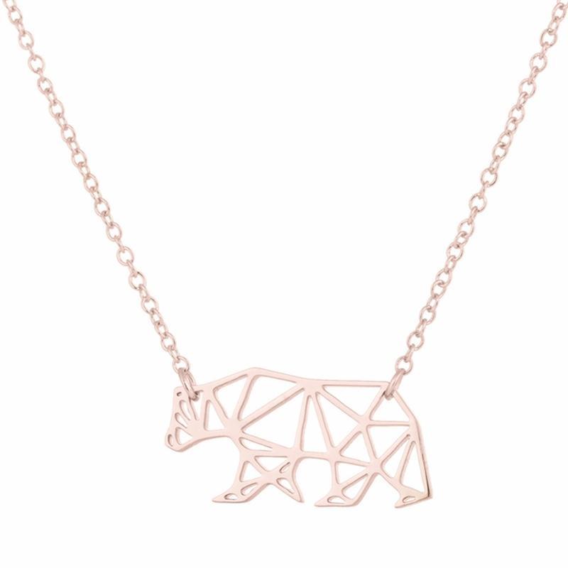 Wholesale día de madres regalos joyería origami minimalista mamá oso collar 45 cm