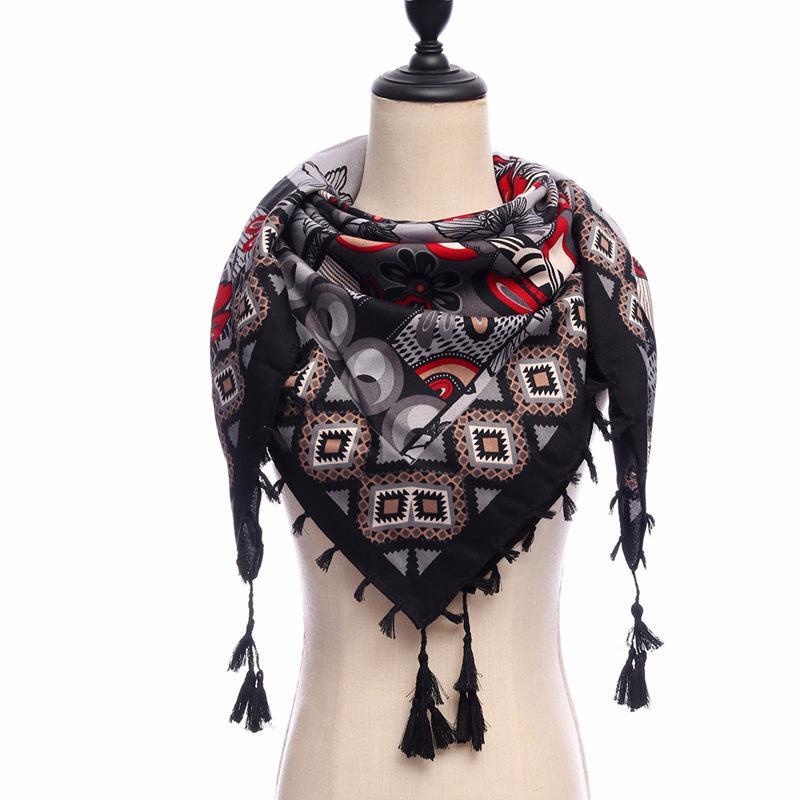 2020 NUEVA Marca Mujeres Bufandas Plaza Algodón Soft Warm Spring Winter Wraps Lady Pashmina Bandana Tassels Gran tamaño 110 * 110cm J1215