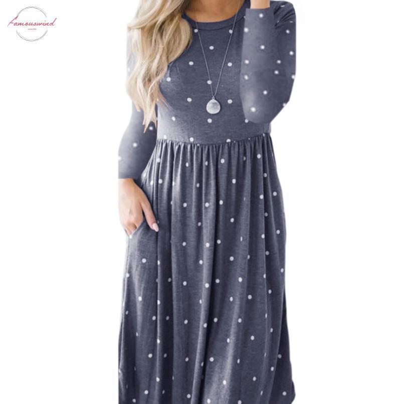Nuove donne Dress Vintage Robe Femme Casual Slose Midi Dress O Collo Tasche Dress Abiti Casual Abiti PLESSO Plus Size Party PL515G
