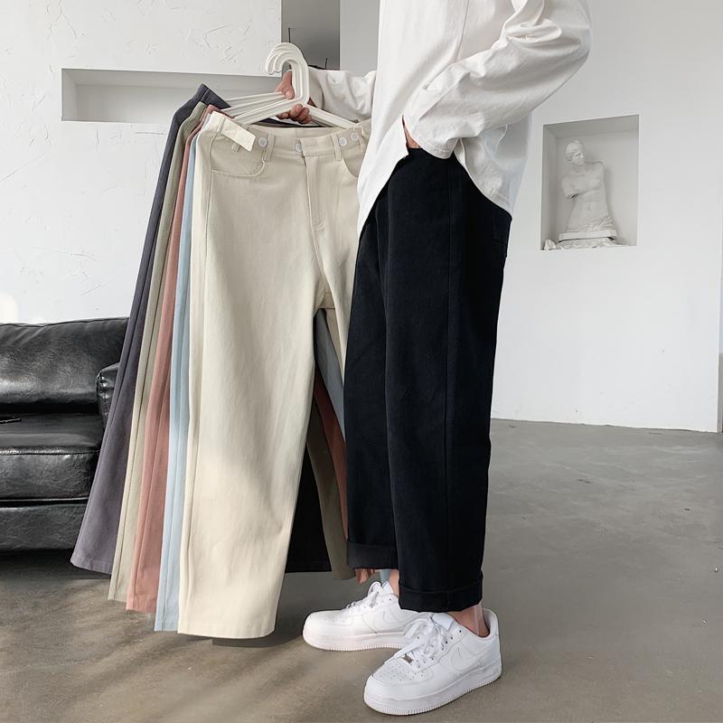 Hommes casual pantalon printemps Nouvelle couleur solide lavée droite jambe droite jambe pantalon décontracté personne personnalité mode masculin vêtements