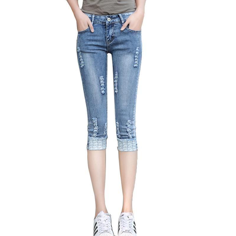 Летние тощие капри Жины женщины плюс размер растягивающие разорванные джинсовые шорты джинсы брюки тонкие обрезанные женщины джинсовые карандашные брюки