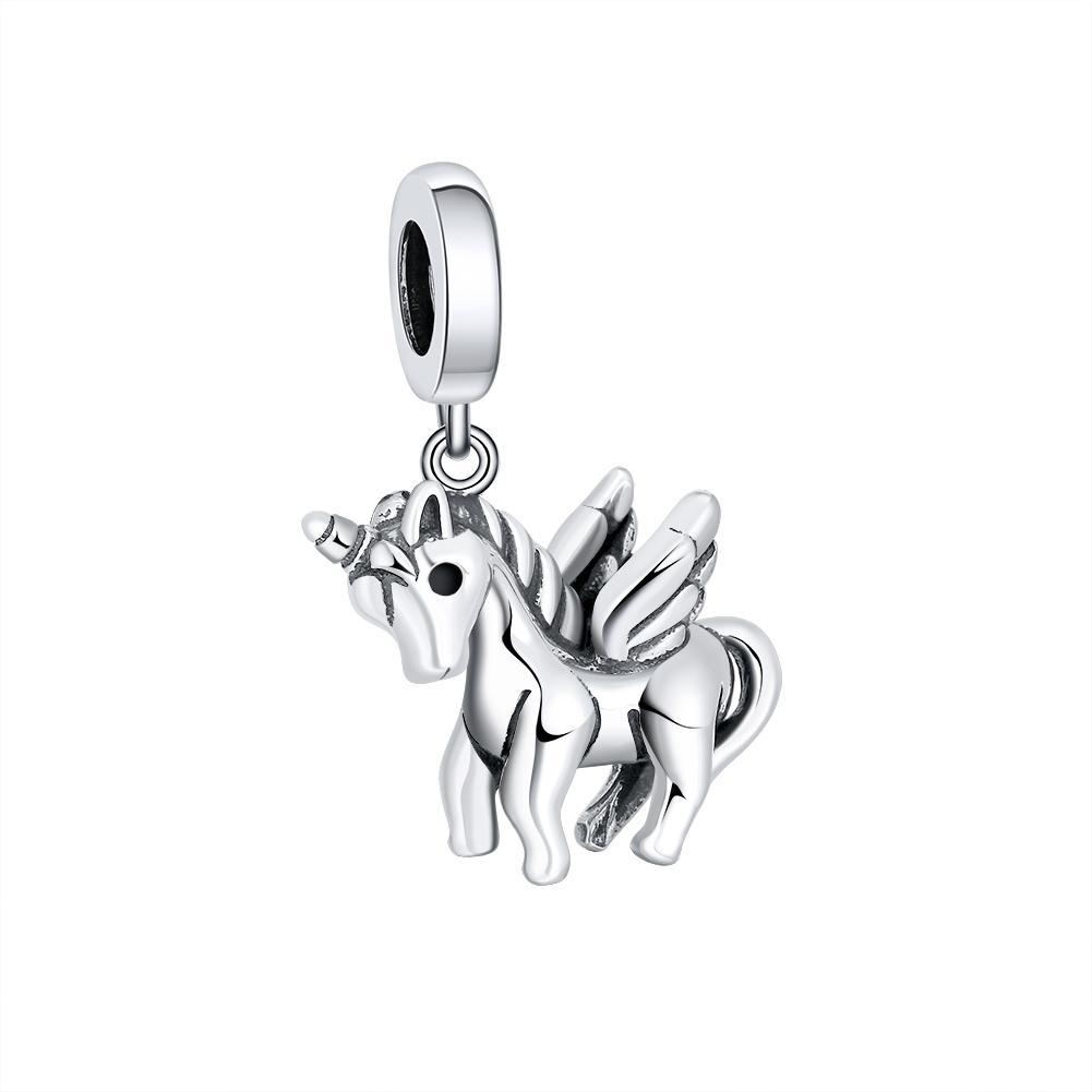 Yove Shone Unicorn Charms 925 Sterling Silver FAI DA TE perline per braccialetto di ragazze FAI DA TE 925 Pendente originale Gioielli moda gioielli amore regali B1205