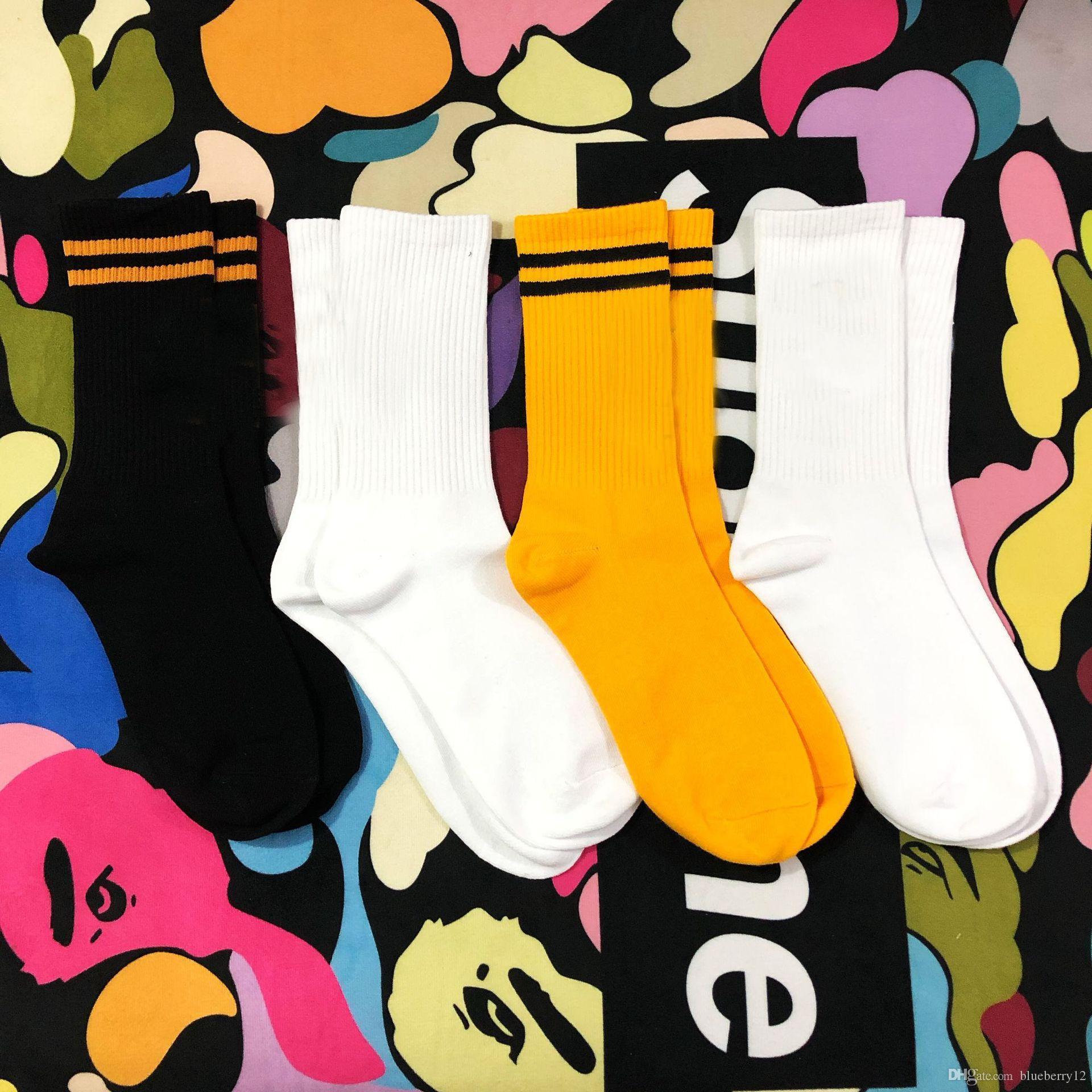 الرجال الأزياء الجوارب عارضة القطن تنفس مع 4 ألوان سكيت الهيب هوب الجوارب الرياضية للذكور