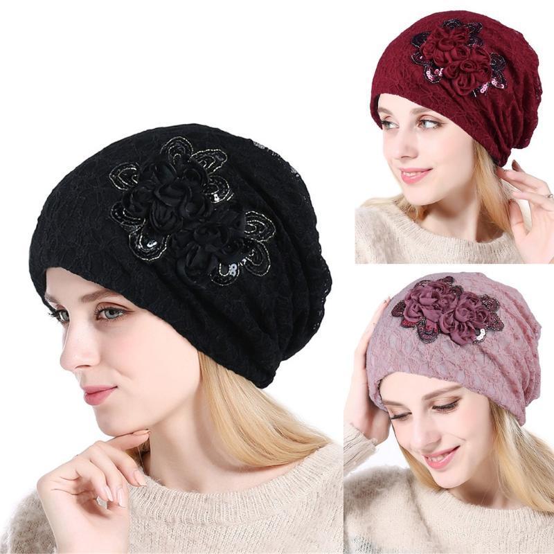 2020 Winterhut Mode Hüte für Frauen Soild Indien Spitze Stretch Turban Caps Strickmütze Mütze Mütze mit Haar Gorras Hombre