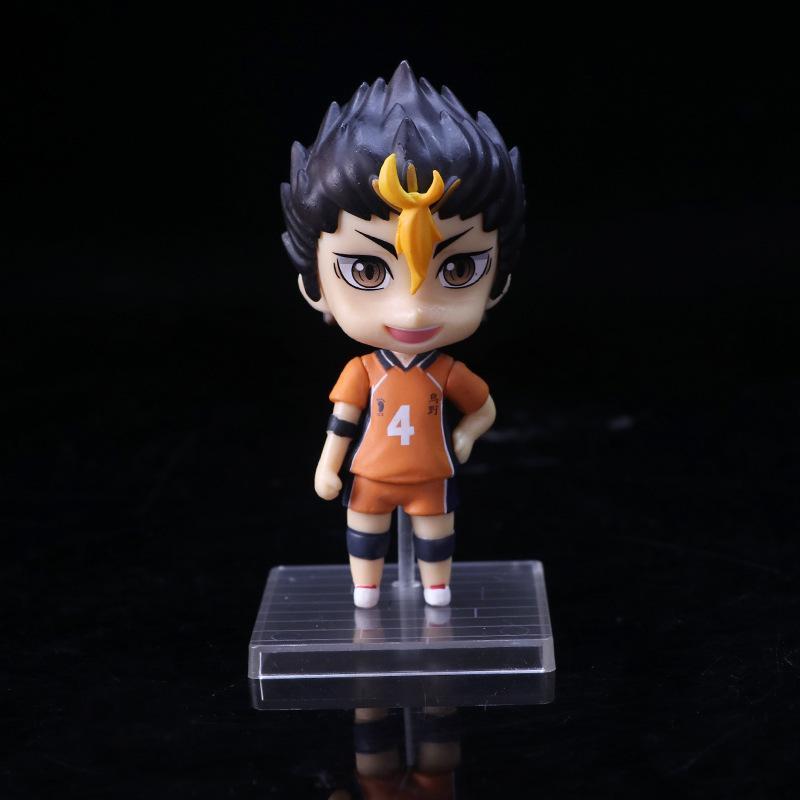 6pcs / Set Haikyuu Mignon PVC Anime Figure Toys Hinata Shoyo Tobio Kenma Tooru Yuu Kei Modèle Nekoma Action Figma Sport Poupée Juguetes Y1130