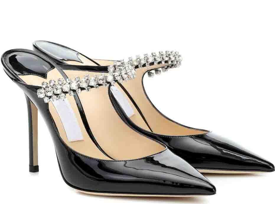 Zarif kadın Bing Pompaları Seksi Sivri Burun Kristal Sapanlar Stiletto Topuklu Bayan Yüksek Topuklu Elbise Parti Düğün Gelin En İyi Hediye Kutusu, EU35