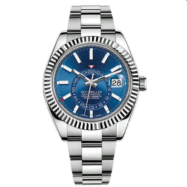 패션 로즈 골드 망 자동 운동 작은 달력 42mm 스테인레스 스틸 스카이 - 거주기 빛나는 비즈니스 방수 5ATM 시계 시계