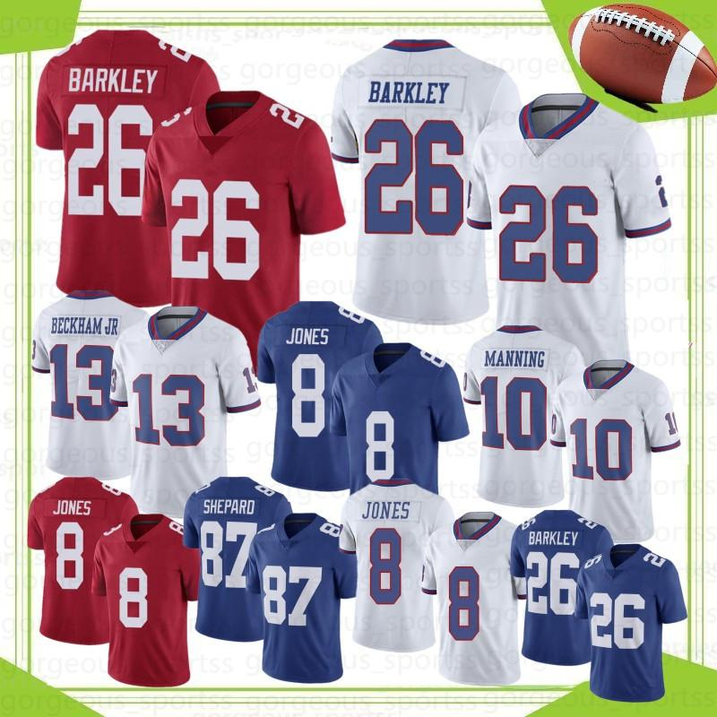 26 Saquon Barkley Homens Futebol Jerseys 8 Daniel Jones 10 Eli Manning 88 Evan Engram 87 Shepard 5 Marshall 13 Beckham Jr S-XXXL