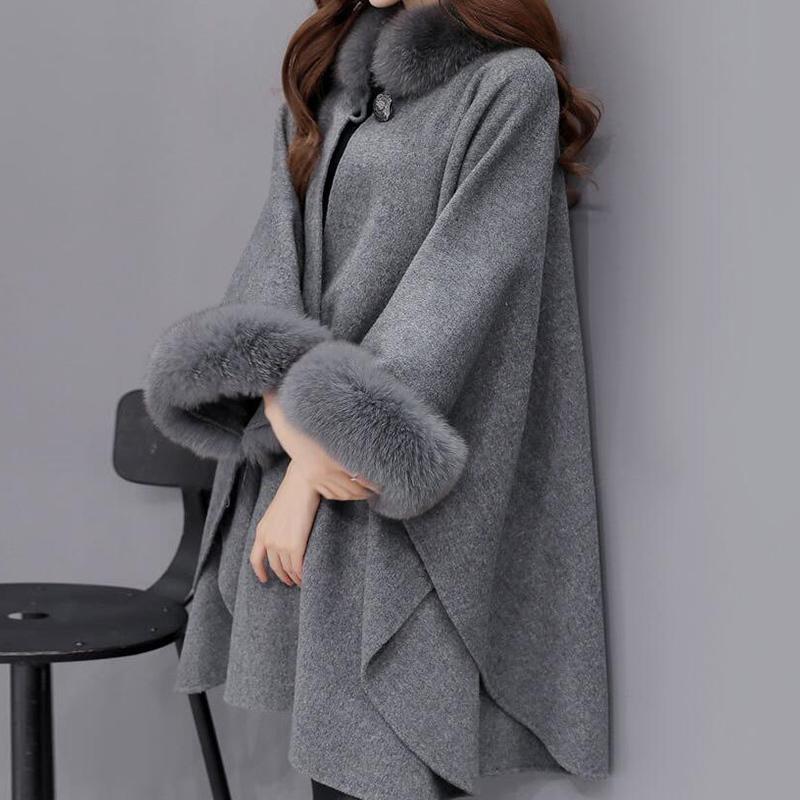 FAUX FOAX FOAX FUT COLLIER CLOAK Manteaux de laine Casual Liquide Longue Veste Femme Hiver Mode Laine Blends Cachemire Mesdames