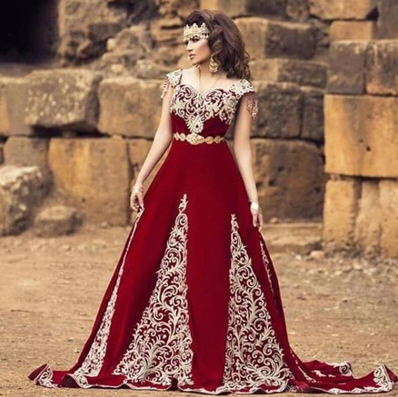 Fas Kaftan Örgün Abiye Kollu Dantel Aplikler ile Arapça Dubai Özel Durum Elbiseler Uzun Balo Abiye 2021