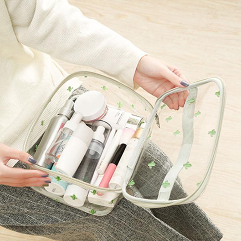 Borsa portatile ecologica Borsa da bagno Organizzatore PVC Impermeabile Grande contenitore di capacità per il trucco Case trasparente cosmetico Toilette