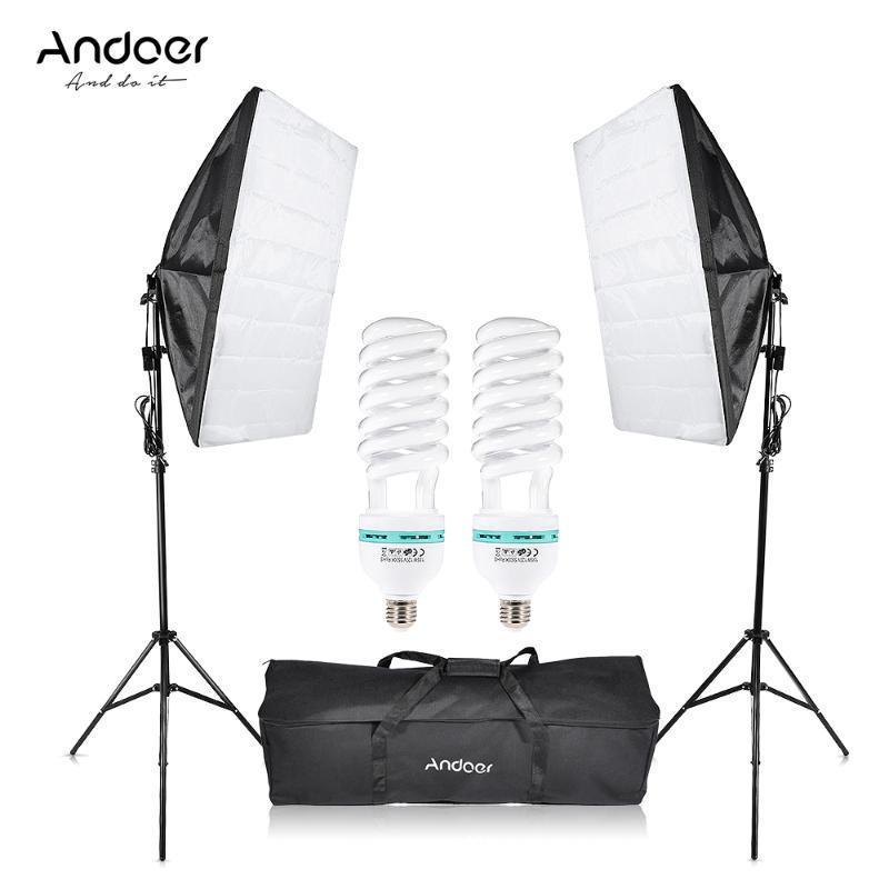 Anoer Photographie Studio Cube Cube Softbox Softbox Lumière Éclairage Tente 2 * 135W Ampoule 2 * Trépied Stand 2 * Softbox 1 * Sac