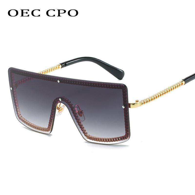 OEC CPO Mode Damen Rimless Sonnenbrille 2020 Brand Designer Ein Stück Sonnenbrille Für Weibliche Männer Trendy Goggles Oculos O253