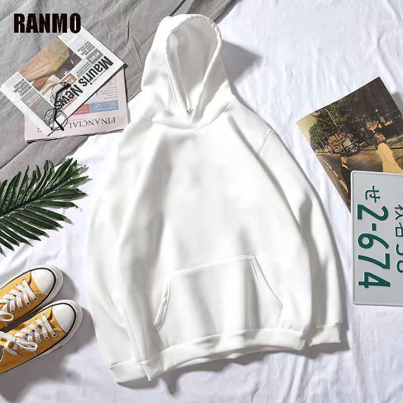 Ranmo Homens Hoodies Casuais Harajuku Outono Sólido Manga Longa Loose Coreano Hip Hop Com Capuz Moletons Streetwear Tops Man1