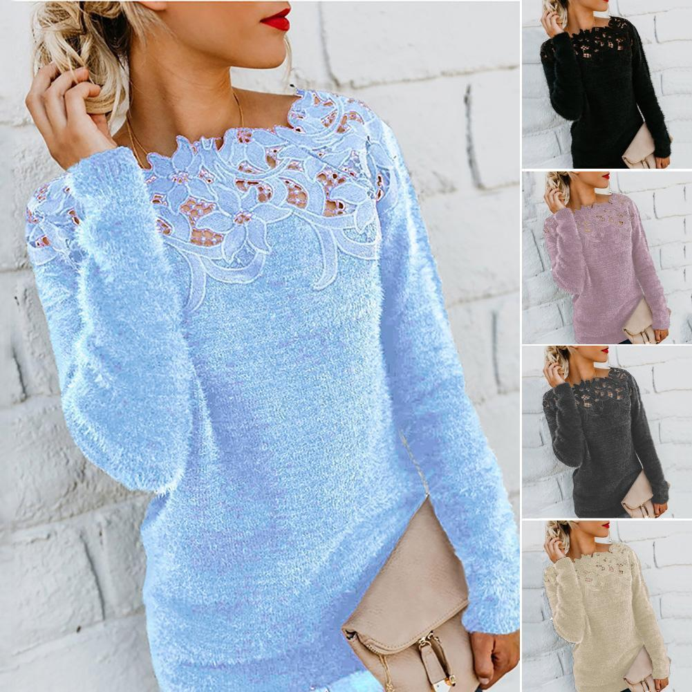 size dress apparel Women Solid Color Long Sleeve O Neck Floral Lace Pullover Plus Sweater