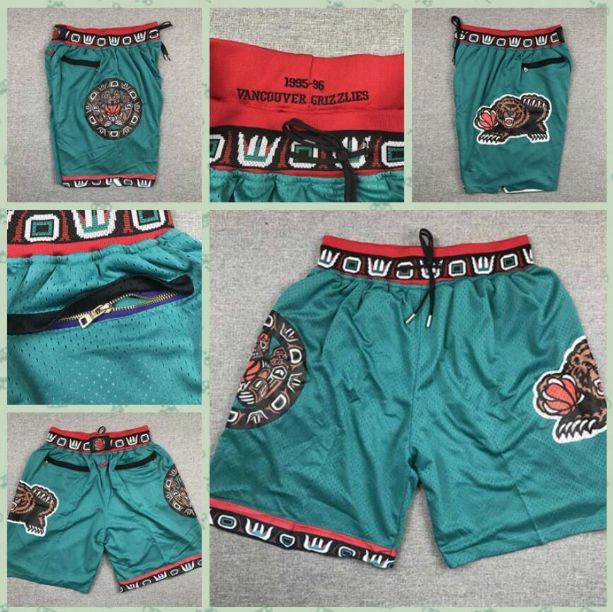 HombresMemphisPantalones cortos de grizzlies, pantalones cortos de baloncesto finamente bordados, pantalones cortos de baloncesto con cremallera con cremallera bordados hermosos.