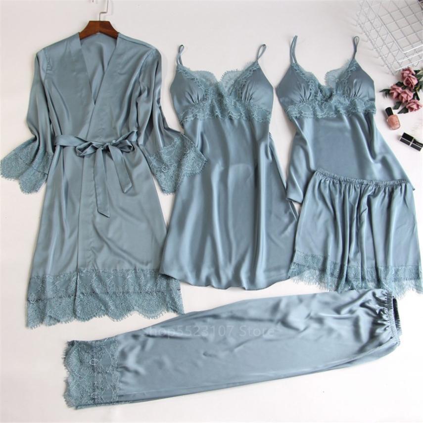 2020 Bayan İpek Saten Pijama Setleri Kayış Pijama 5 Parça Setleri Kadın Dantel Lounge Pijama Göğüs Pedleri Ile Ev Giyim W1225