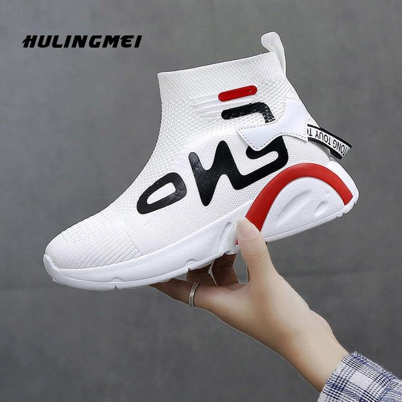 Women Tennis Women 2020 New Sneakers Casual Fashion White Shoe Elastic Knitting Platform Non-slip Breathable Female Shoes LJ201201
