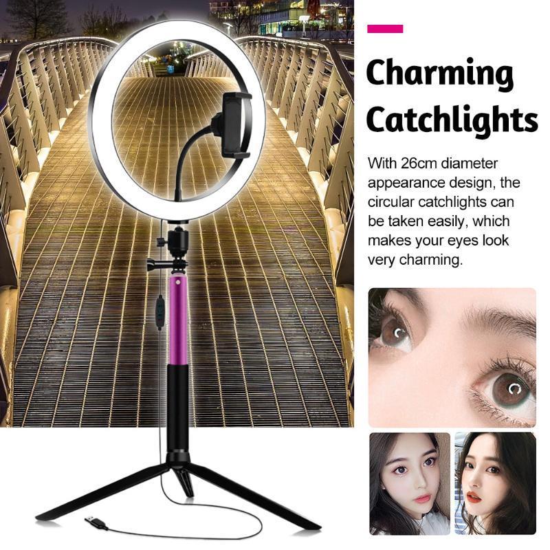 26 cm / 10 polegadas de diâmetro 3200K-5600K BI-cor anel de beleza video kit 3 modos de iluminação equipados com titular do telefone de controle do telefone