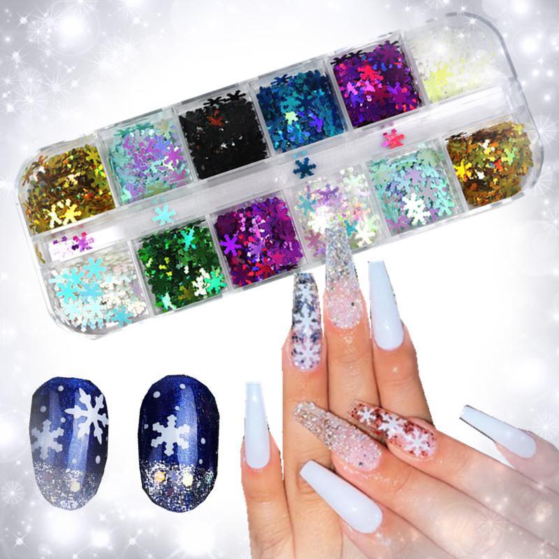 1 torba Holografik Ultra-ince Kar Tanesi Pullu Noel Mix3d Kar Tanesi Nail Art Lazer AB Gümüş Toz Tırnak Dekorasyon Çivi