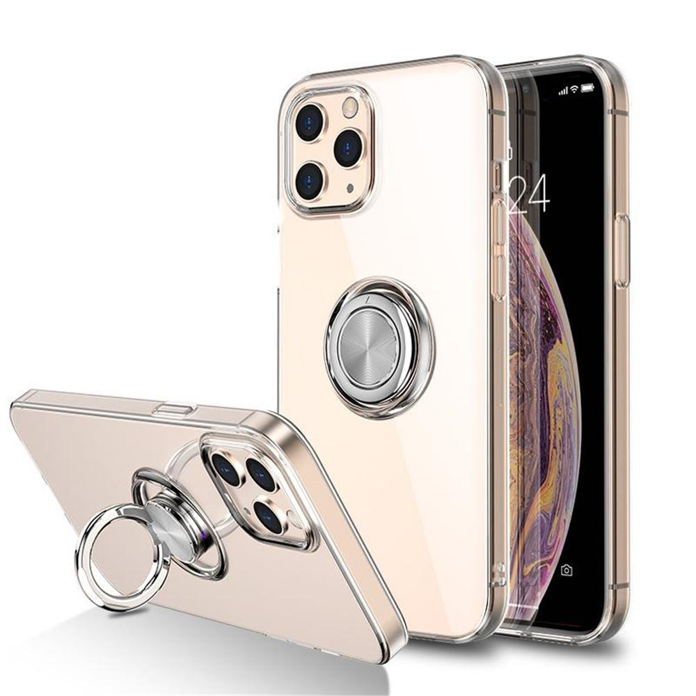 IPhone12 Mobile Phone Shell Apple 11 Transparent Ring Car Holder XS MAX Anti-Fall Protective Cover SE2 Wholesale Cell Phone Cases