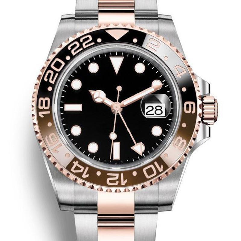 패션 새로운 GMT 세라믹 베젤 망 기계식 SS 자동 2813 무브먼트 시계 스포츠 시계 남자 디자이너 손목 시계 짐