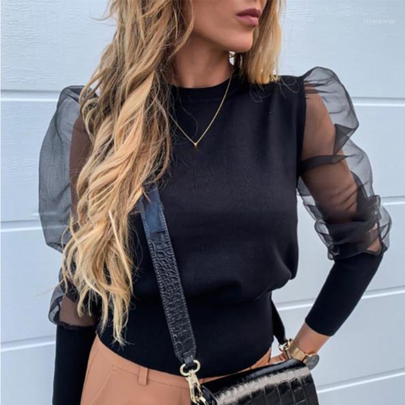 Moda Spruff Sleeve Y2K Camisa Pérola Projeto Frisado Mulheres Blusa Elegante 2020 Outono Inverno Feminino Lace Tops Senhoras Blusas1