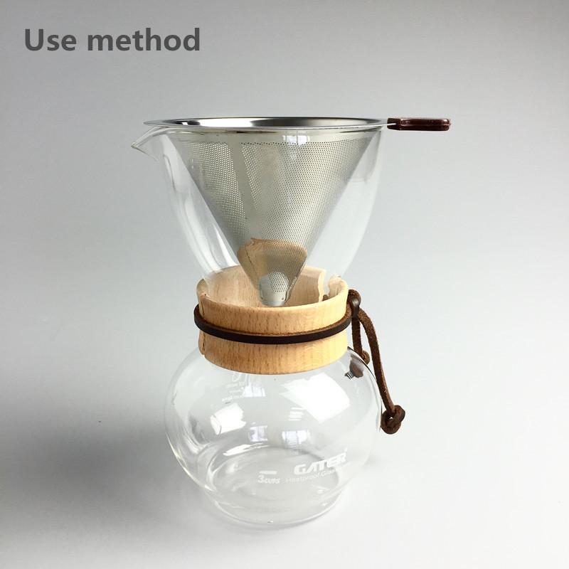 Cestas de filtro de café de té de acero inoxidable reutilizables 3-4 tazas de cono embudo Filtros de malla de metal Brew Drip Coffee Tea Filter Tools 2021