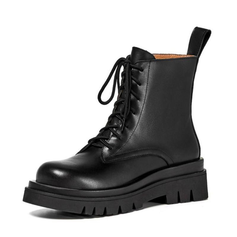 Rasseup Tamanho 34-43 2020 Ins Mulher Real Couro Ankle Boots Sapatos de Moda Mulher Curto Inverno Botas Quentes Plataforma Calçado Calçado