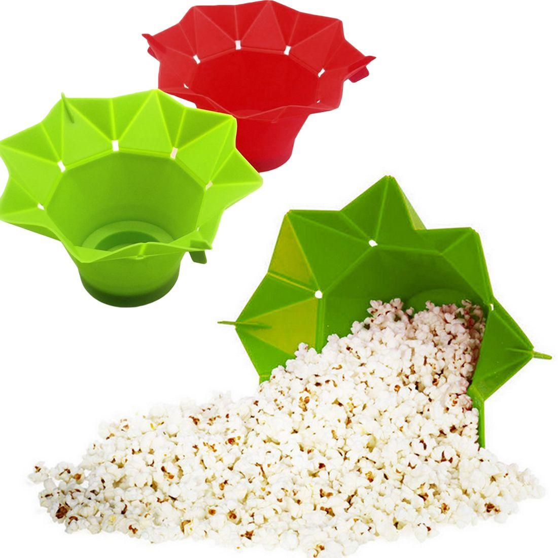 Silicone Vermelho Verde Popcorn Bowl Home Microwavable Pop Milk Maker Bowl Microondas Cofre Cofre Pipoca Bucket 201214