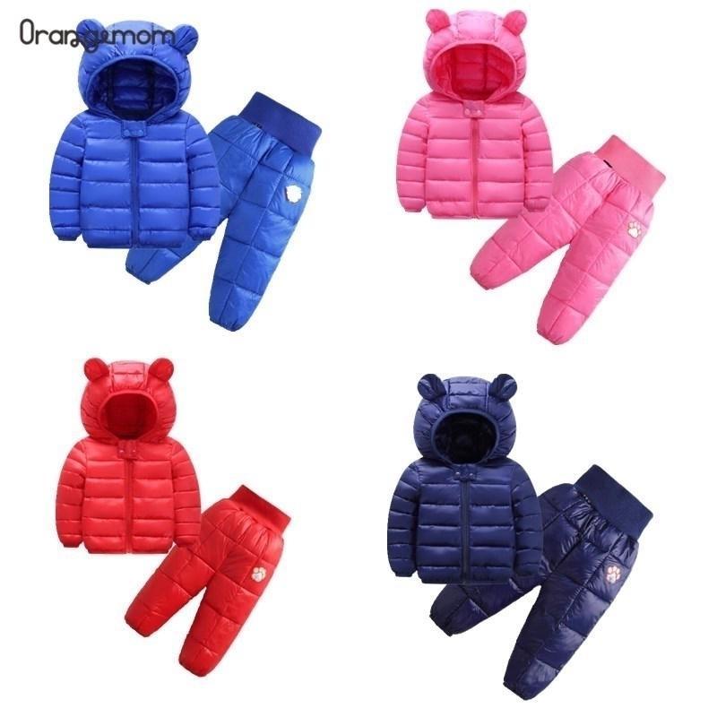 Осень и зимние мальчики мальчики новые милые детские хлопчатобумажные девочки девочки младенческие Двухместный дворик куртка + брюки девушки костюм Y200831