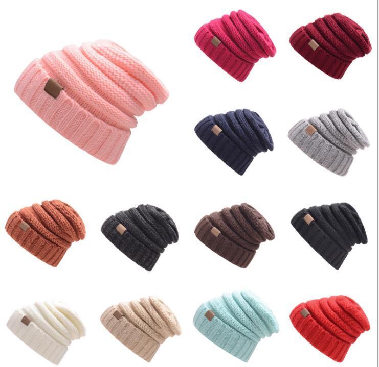 Gestrickte Mütze Mützen Frauen Warm Winter Einfache Stil Chunky Weiche Stretch Männer Strickmütze Schädel Hüte 15 Farben Großhandel