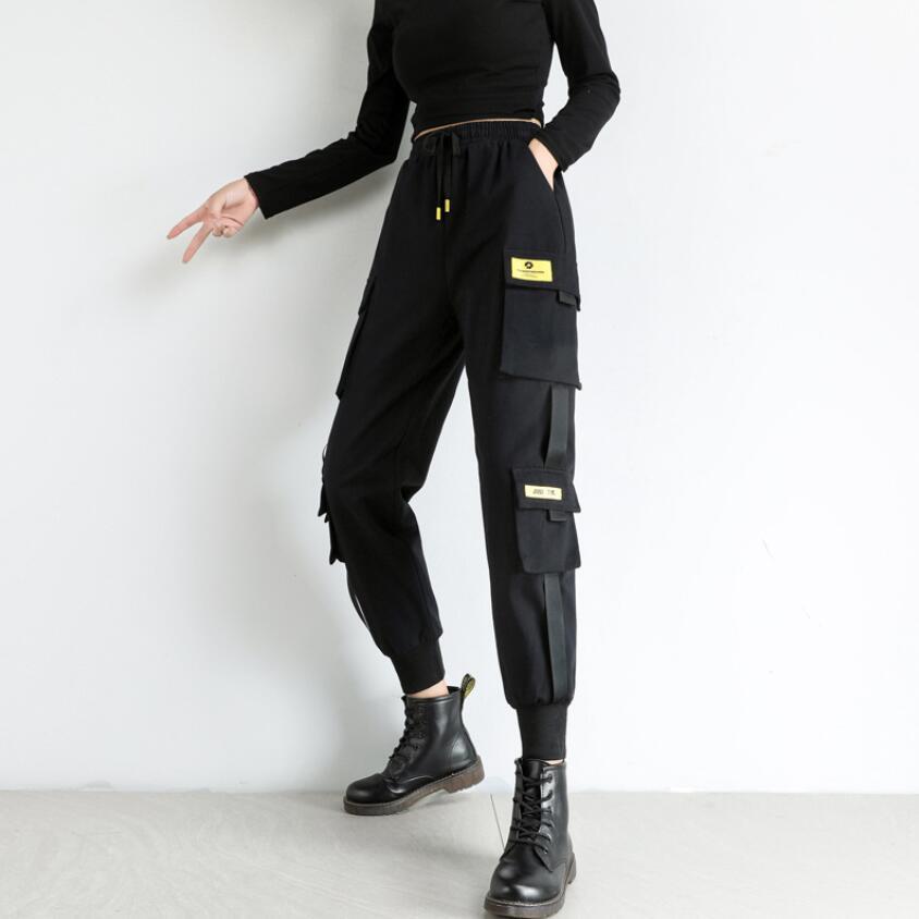 Pantaloni Studenti in stile coreano autunno inverno Bib complesso femminile di dimagramento a vita alta allentato BF dritto Sport fascio piedi
