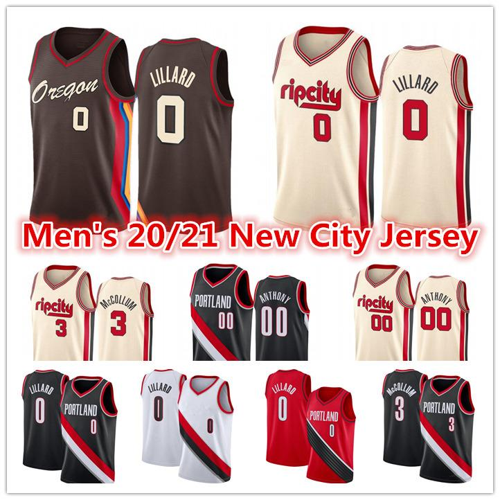 Uomo 2021 Damian 0 Lillard Jersey Red Black Bianco CJ 3 McCollum Carmelo 00 Anthony City Brown Edition Maglie di baskey