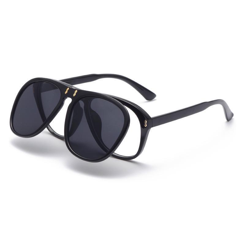 Cubojue Flip Lenses Gafas de sol Mujeres Masculinas Steampunk Gafas Marcos con doble lente Moda Amarillo Negro Vintage Unisex Retro
