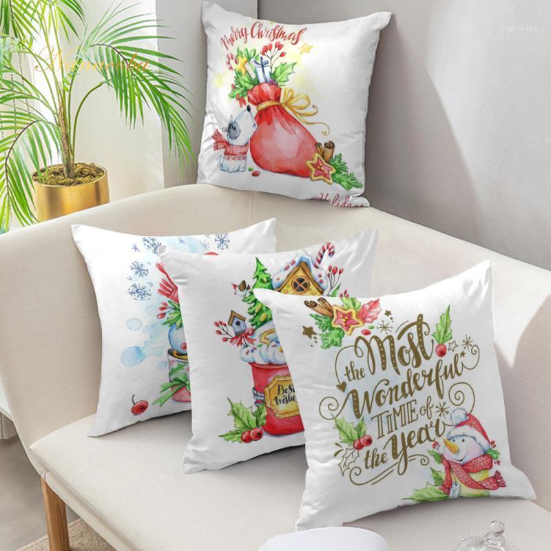 Noel Yastık Kapak 45x45 cm Yastık Kılıfı Kanepe Yastıkları Yastık Kılıfları Yumuşak Beyaz Yastık Ev Dekorasyonu Xmas Dekor Için Ev1