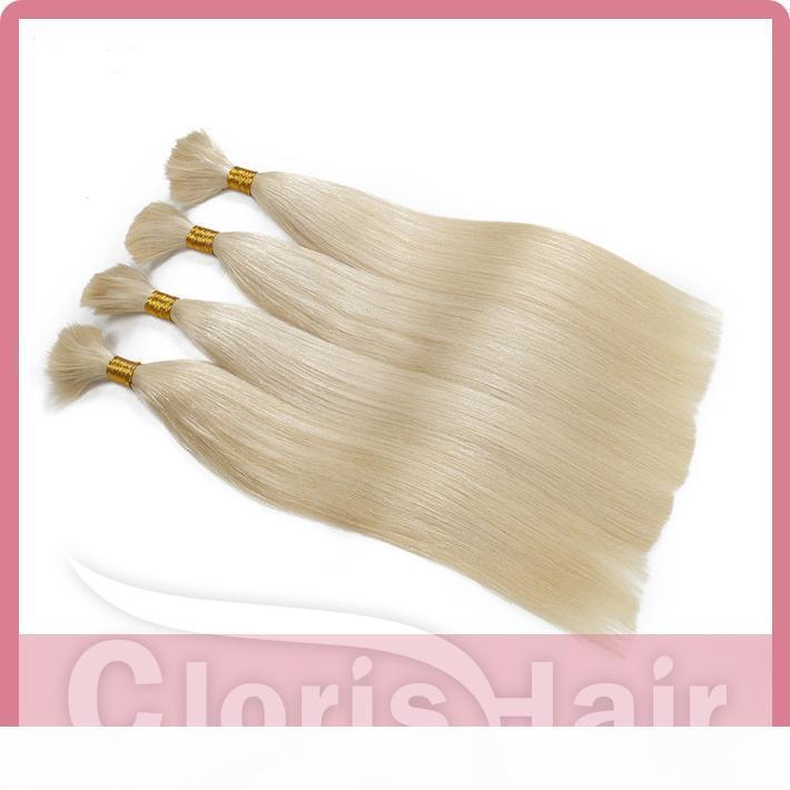 Платиновая блондинка плетение человеческие волосы насыпь без уток толстые шелковые прямые бразильские наращивания волос в основном на продажу дешевые 613 ткань