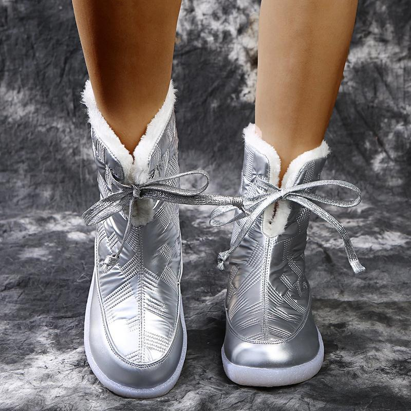 Vente chaude Rimocy Argent fourrure d'hiver chaud Bottes longues peluche plate-forme imperméable Bottes de neige lacées Plus Size 43 Bottines Chaussures Femme