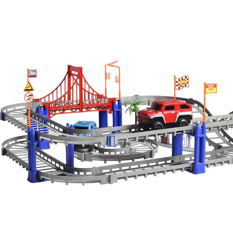 Wholesale Toys Free Shipping track car Electric rail train toy rail car creative assembly electric train car sets children's toy gifts