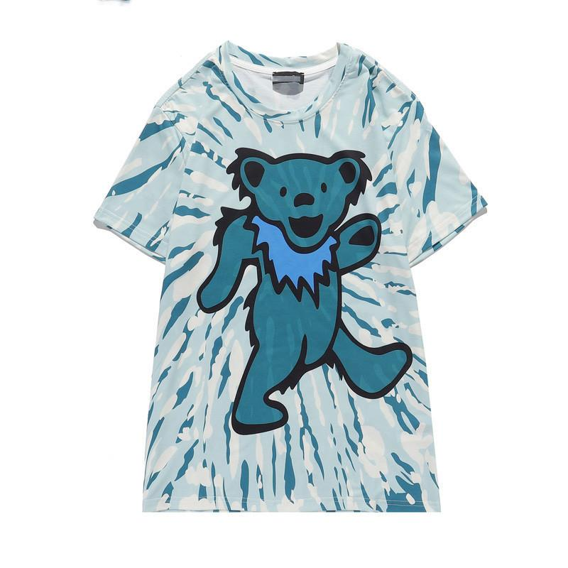 Летняя мода 2021 INS Мужская Дизайнерская Футболка Медведь Печать Мода Дама Футболка Высокое Качество Хлопок Повседневная Футболка с коротким рукавом Роскошь