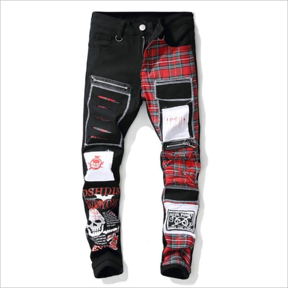 Nagri 2020 New Men's Skull stampato Scottish Plaid Patchwork Jeans Trendy Patch Design Black RIPPED Denim Denim Pantaloni lunghi Denim Q1216
