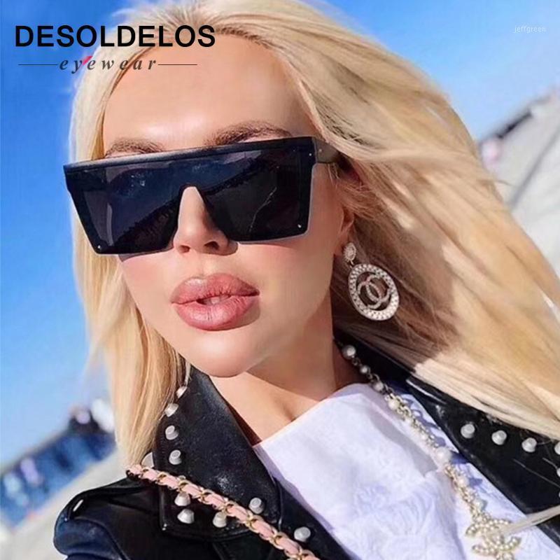 2020 Новые негабаритные Солнцезащиты Женщины Большой Рамка Квадратный Плоский Топ Заклепки Солнцезащитные Очки Женские Мужчины Винтажные Зеркальные Оттенки Градиент UV401