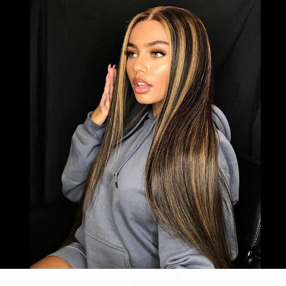 Sarışın İpeksi Düz 13x4 Dantel Ön İnsan Saç Peruk Ön Poplu 180 Yoğunluk Brezilyalı Remy İnsan Saç Kadınlar için Tam Dantel Peruk