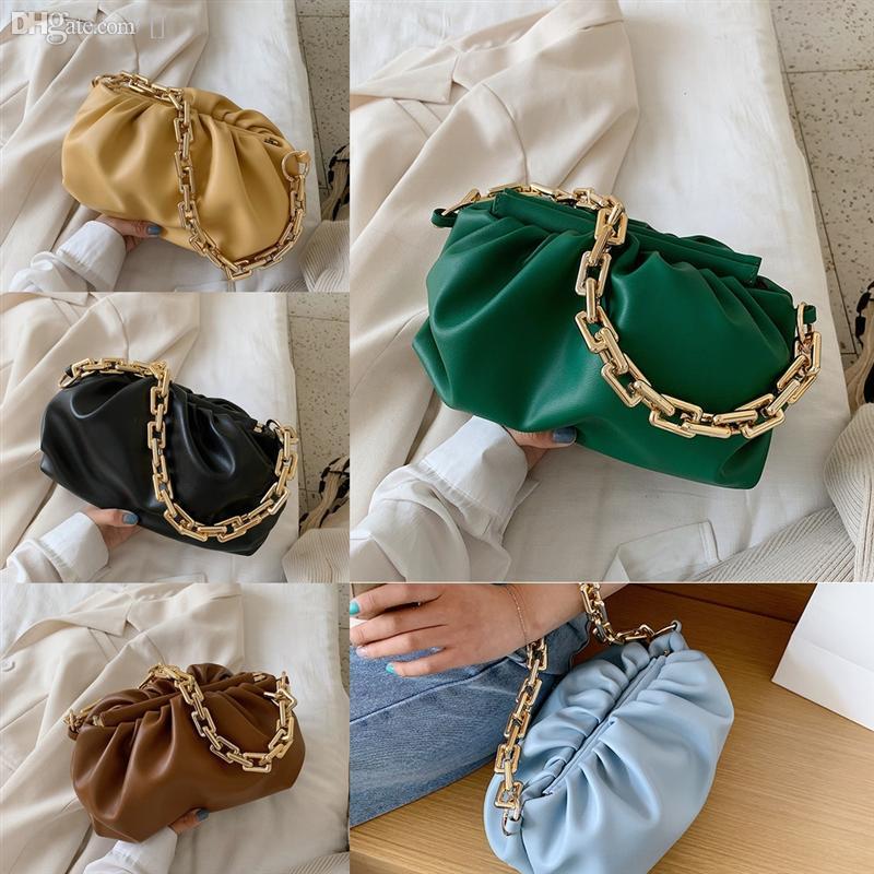 Genuine paper bag Leather chape Soft CharmClouds designer Woman Package Single Shoulder Satchel Dumplings Hand Dumpling clip Take Bag fashio