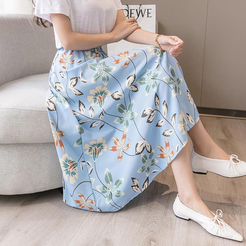 Женщины юбки богемные длинные цветочные напечатанные пляжные юбки A-Line высокая талия девушки юбки элегантные женские дна Y200704